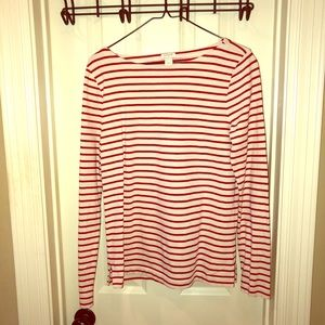 J. Crew Red and White Striped LS Top